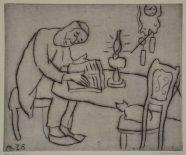 Lesender Mann (vor der Kerze)