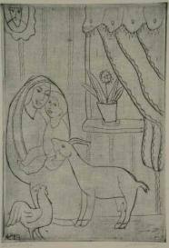 Mutter, Kind, Ziege und Hahn