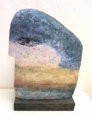 Christina Renker: Blauer Kopf mit Landschaft