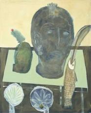 Heidi Lamira Woitinek: Stilleben mit Fisch und griechischer Göttin