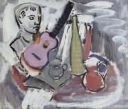 Hans Kinder: Stilleben mit Krügen und Gitarre