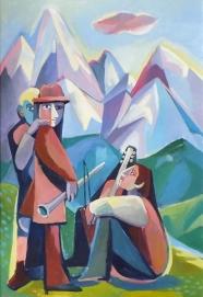 Musiker in den Bergen