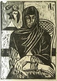 Frau mit schwarzem Tuch