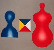 Blaue und rote Figur