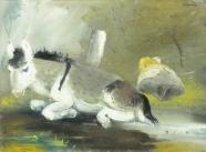 Esel (verso: Trümmerarbeiter)