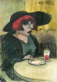 Dame im Café