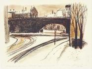Eisenbahnbrücke im Winter