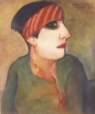 Frau mit rotem Band