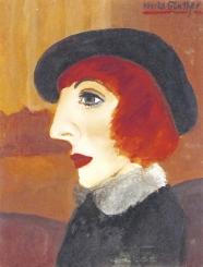 Frau mit schwarzer Kappe