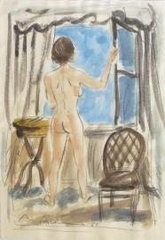 Max Schwimmer: Weiblicher Rückenakt am Fenster