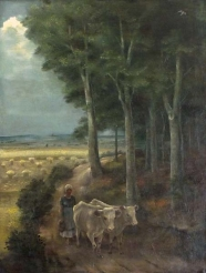 Magnus Zeller: Landschaft mit Bauernmädchen und Kühen